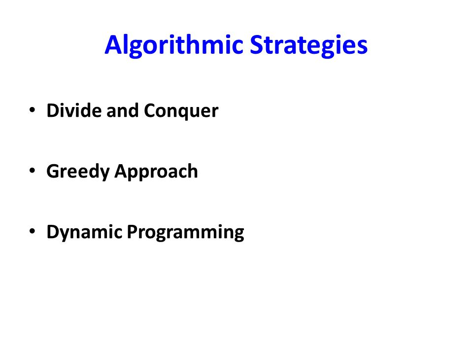 Algorithmic Strategies