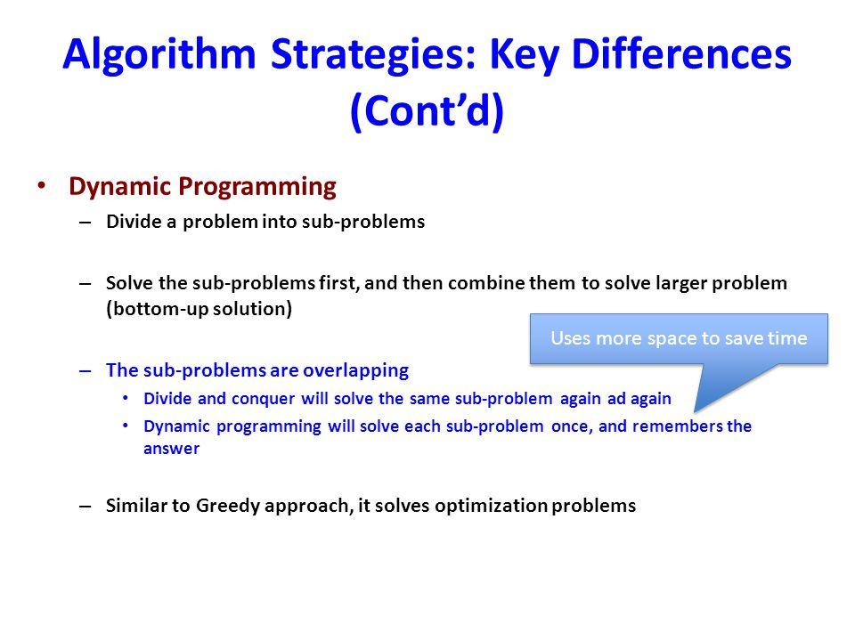 Algorithm Strategies: Key Differences (Cont'd)