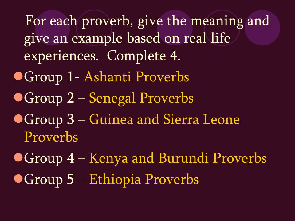 For each proverb, give the meaning and give an example based on real life experiences. Complete 4.