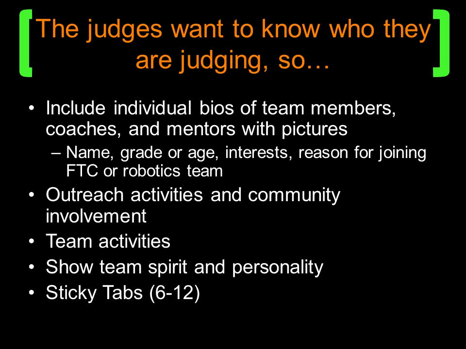 The judges want to know who they are judging, so…
