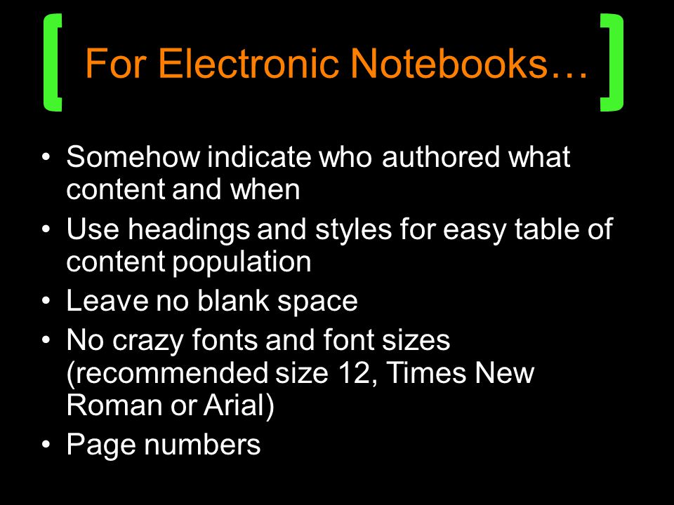 For Electronic Notebooks…