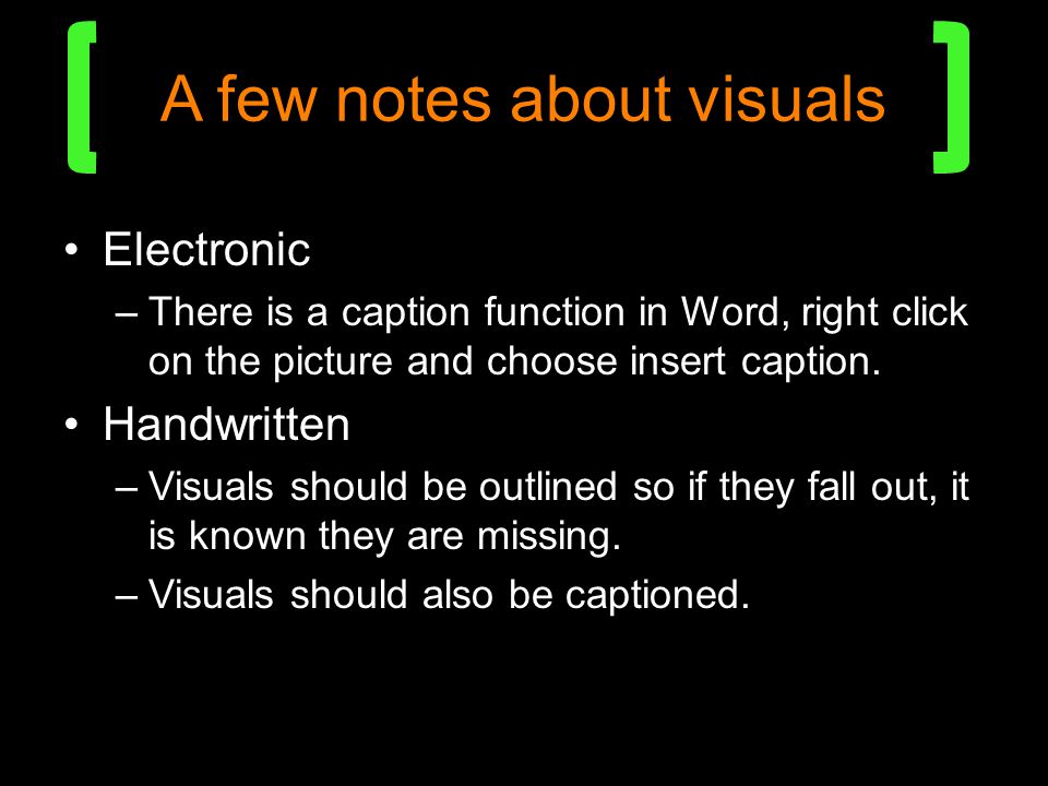 A few notes about visuals