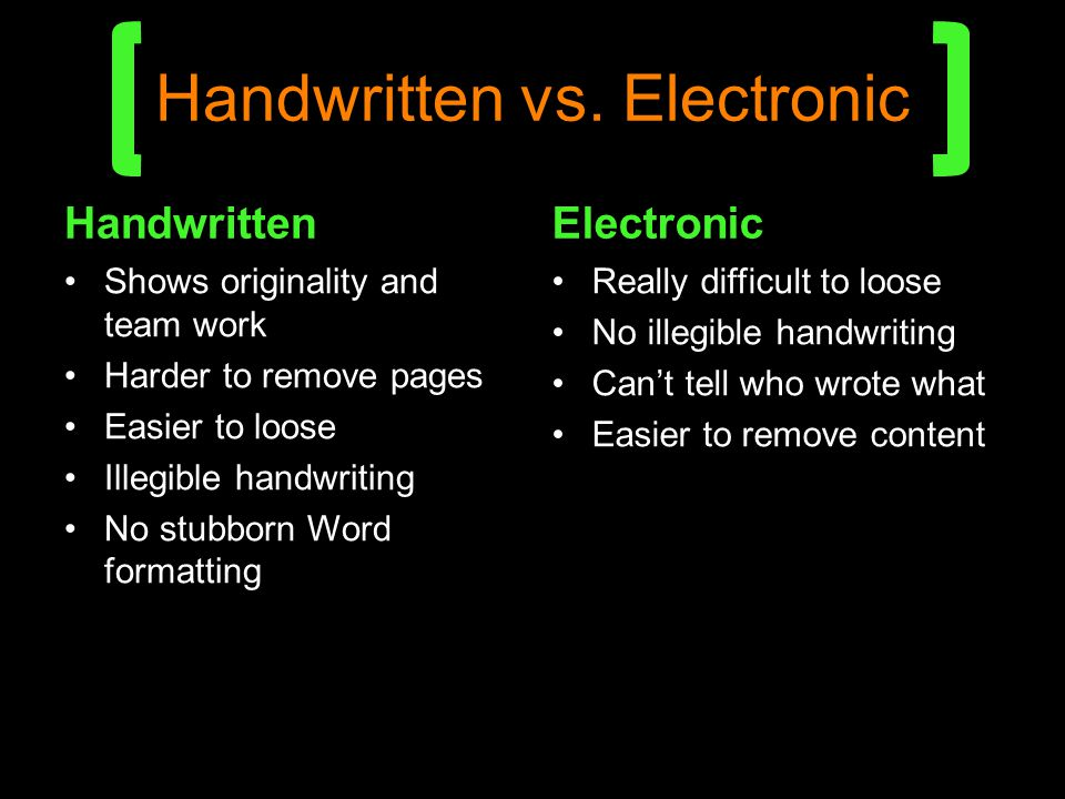Handwritten vs. Electronic