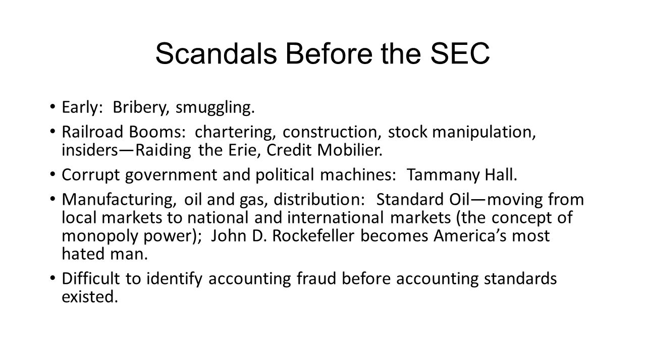 Scandals Before the SEC