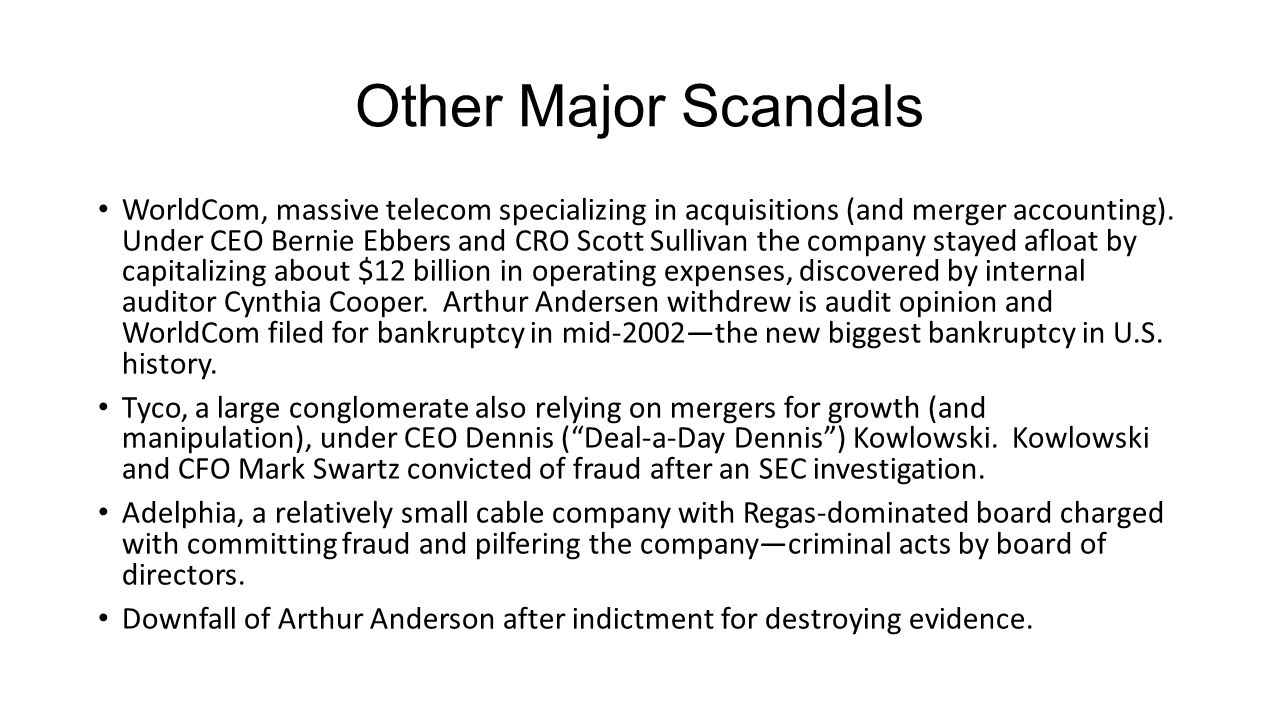 Other Major Scandals