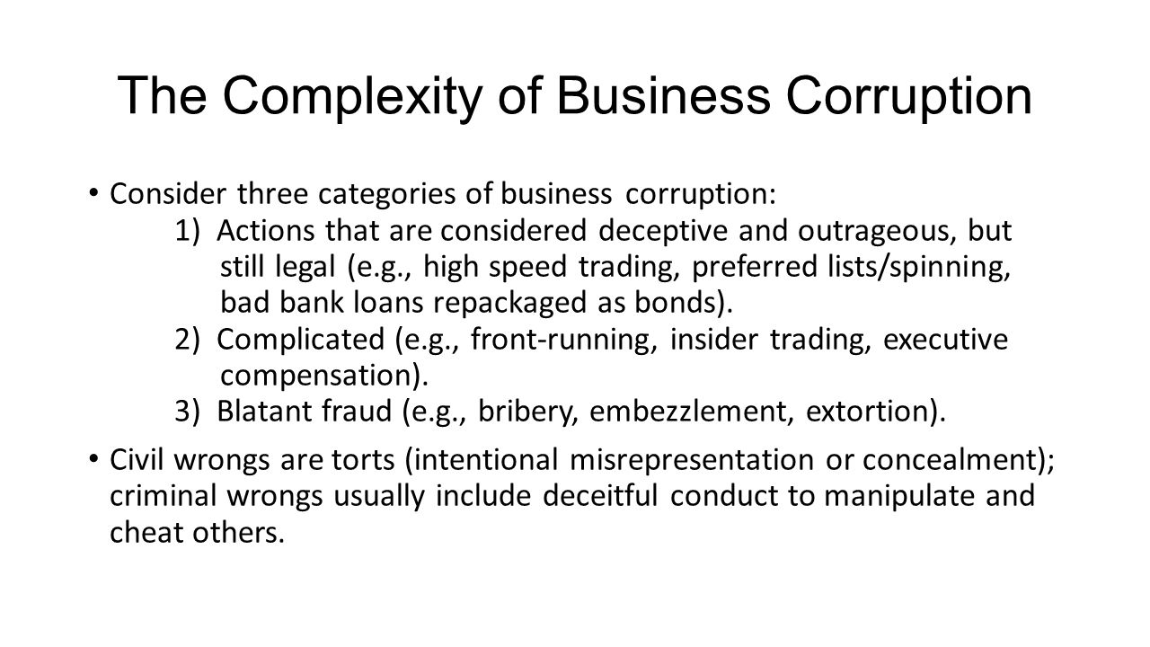 The Complexity of Business Corruption