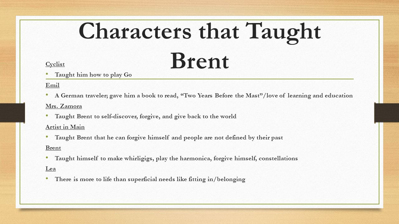 Characters that Taught Brent
