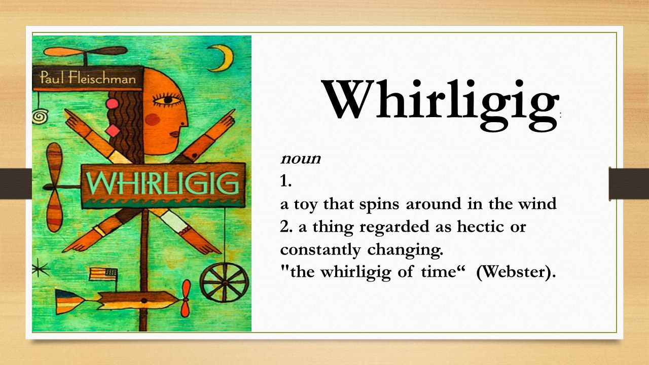 whirligig book Get this from a library whirligig [paul fleischman] -- while traveling to each corner of the country to build a whirligig in memory of the girl whose death he caused, sixteen-year-old brian finds forgiveness and atonement.