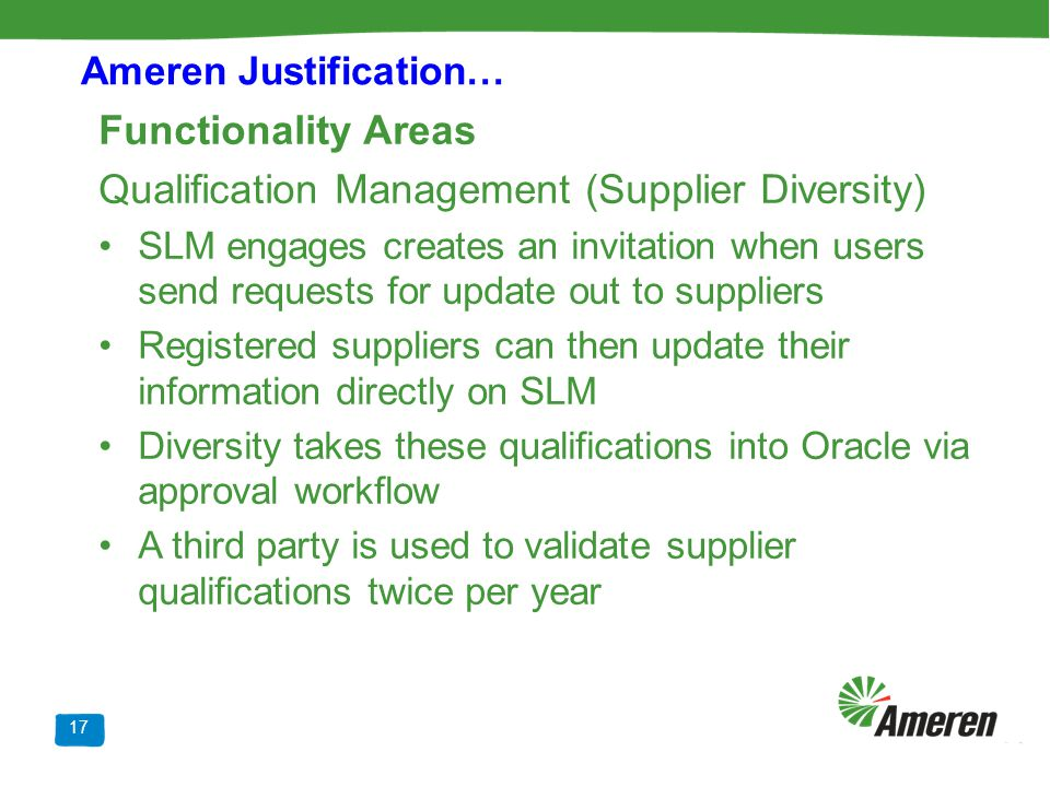 Qualification Management (Supplier Diversity)