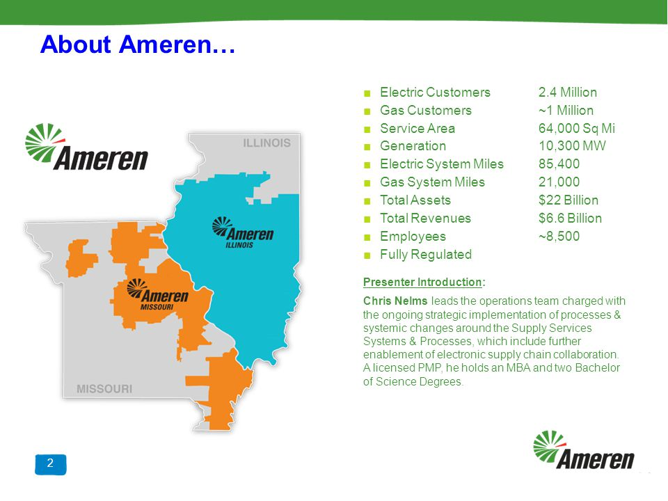 About Ameren… Electric Customers 2.4 Million Gas Customers ~1 Million