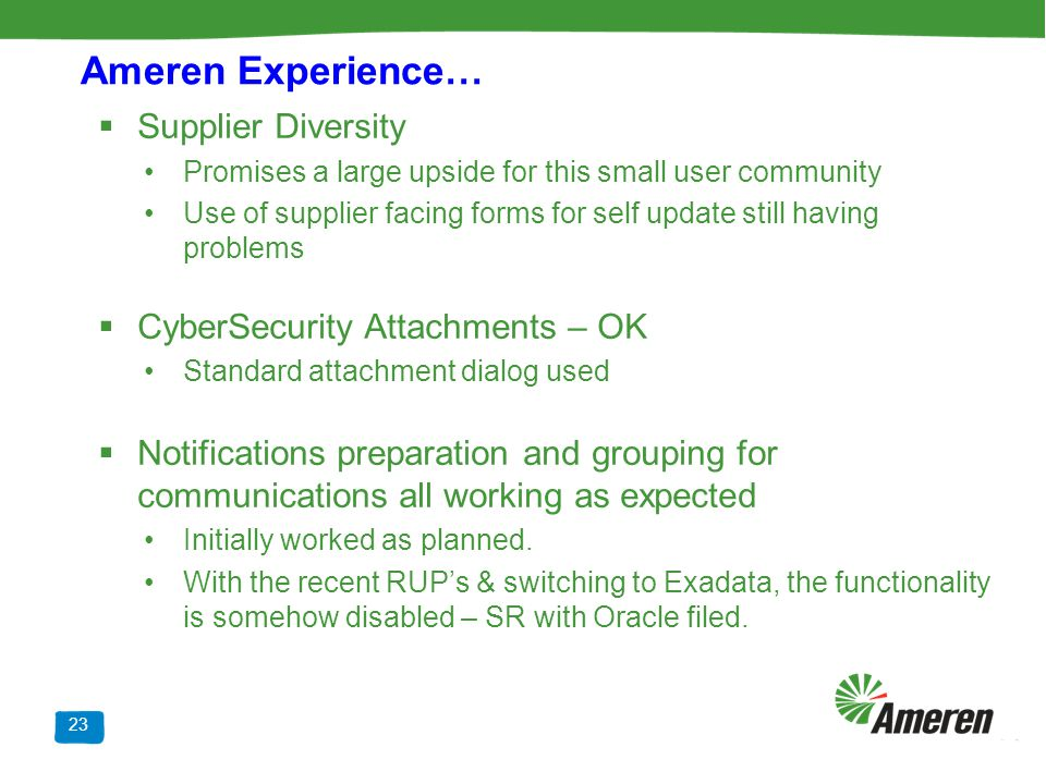 Ameren Experience… Supplier Diversity CyberSecurity Attachments – OK