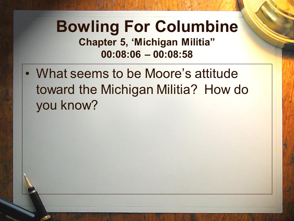 Bowling For Columbine Chapter 5, 'Michigan Militia 00:08:06 – 00:08:58
