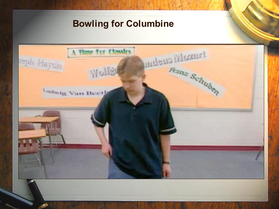 bowling for columbine essay questions Bowling for columbine essaysthe documentary, bowling for columbine by mike moore has been one of the most controversial documentary's in the past few years there are some good reasons for this.