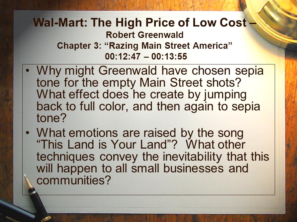 Wal-Mart: The High Price of Low Cost – Robert Greenwald Chapter 3: Razing Main Street America 00:12:47 – 00:13:55