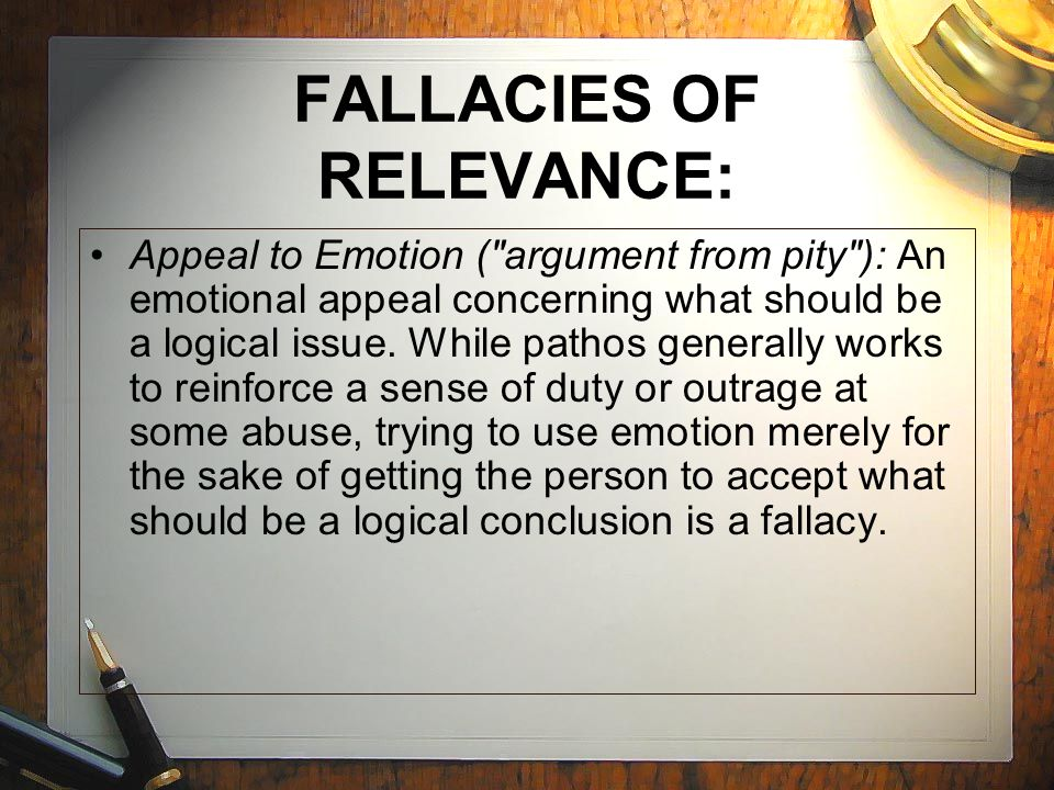 FALLACIES OF RELEVANCE: