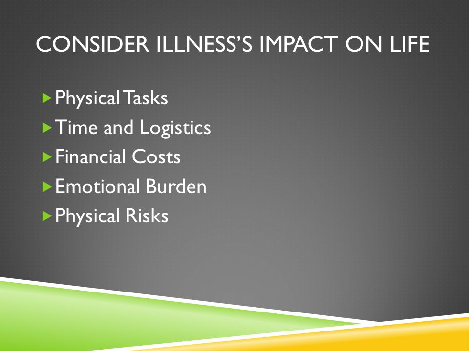 Consider Illness's Impact on Life