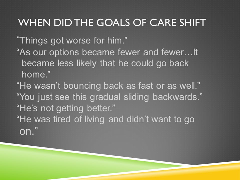 When did the goals of care shift