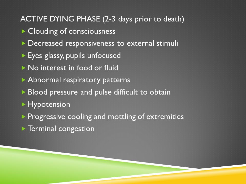 ACTIVE DYING PHASE (2-3 days prior to death)