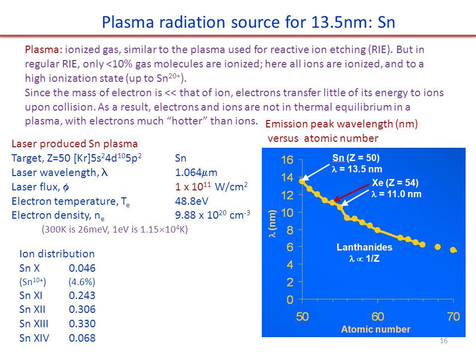 Plasma radiation source for 13.5nm: Sn