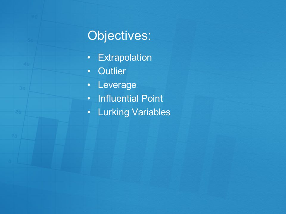 Objectives: Extrapolation Outlier Leverage Influential Point