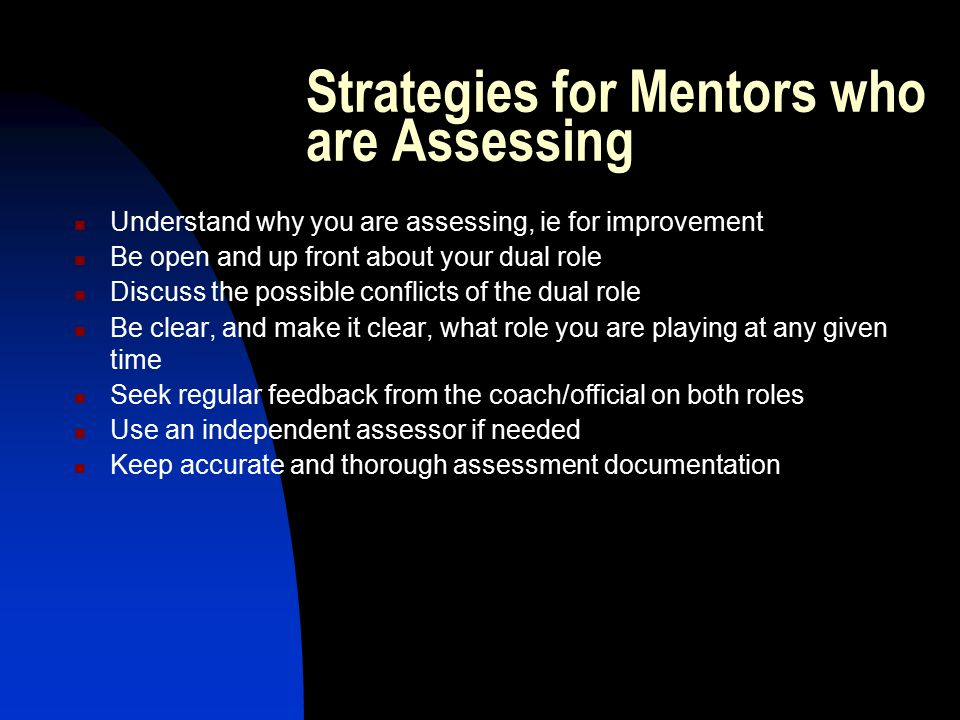 Strategies for Mentors who are Assessing