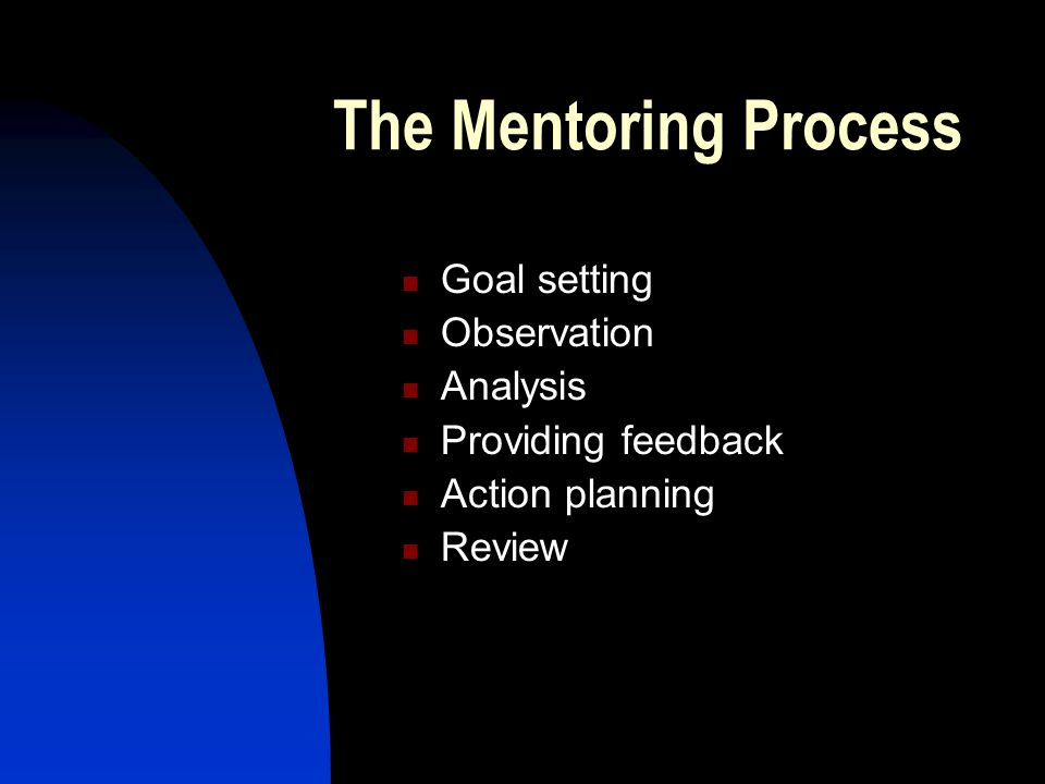 The Mentoring Process Goal setting Observation Analysis