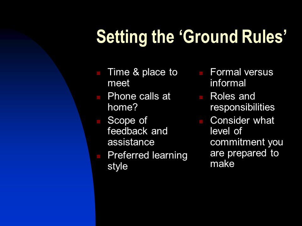 Setting the 'Ground Rules'