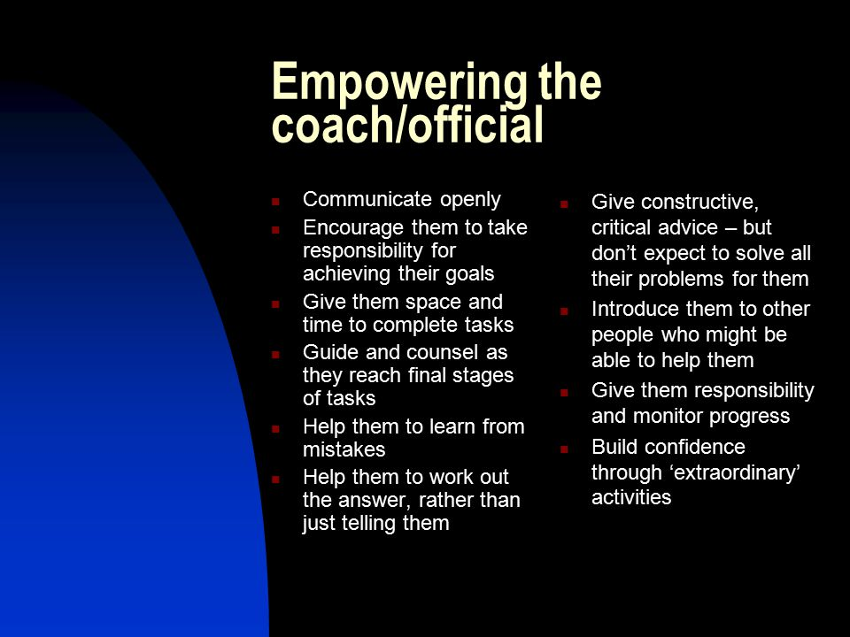 Empowering the coach/official