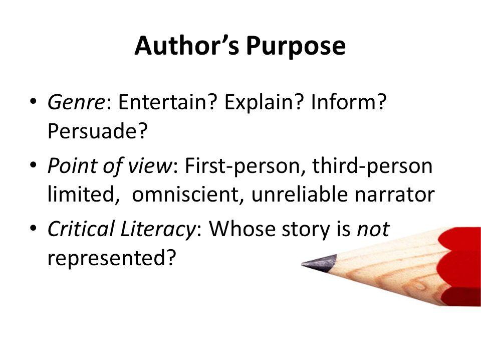 Author's Purpose Genre: Entertain Explain Inform Persuade