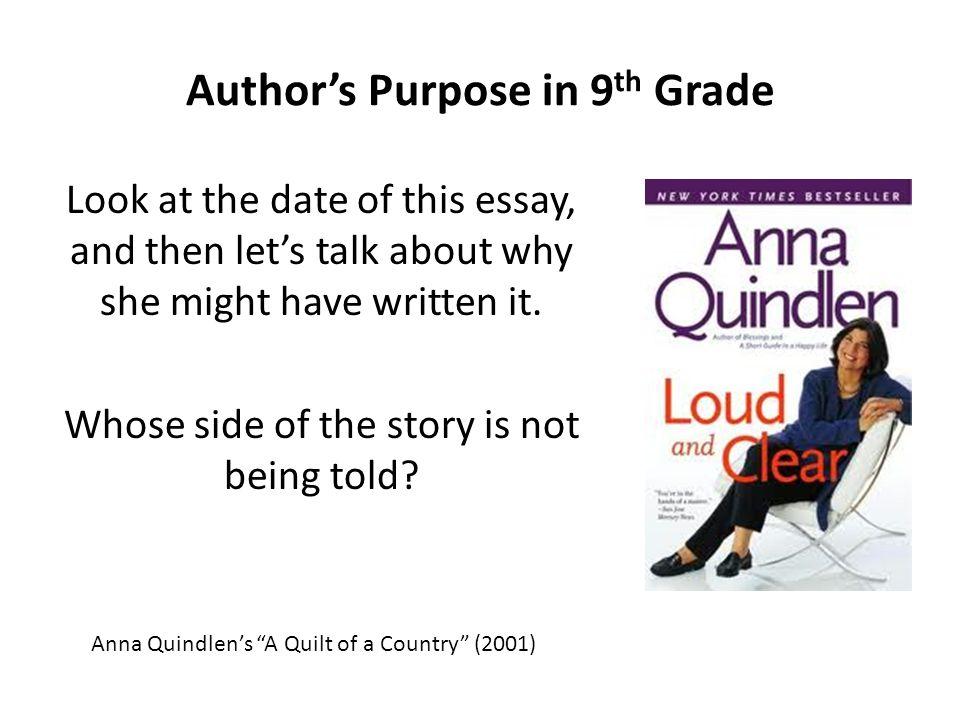 Author's Purpose in 9th Grade