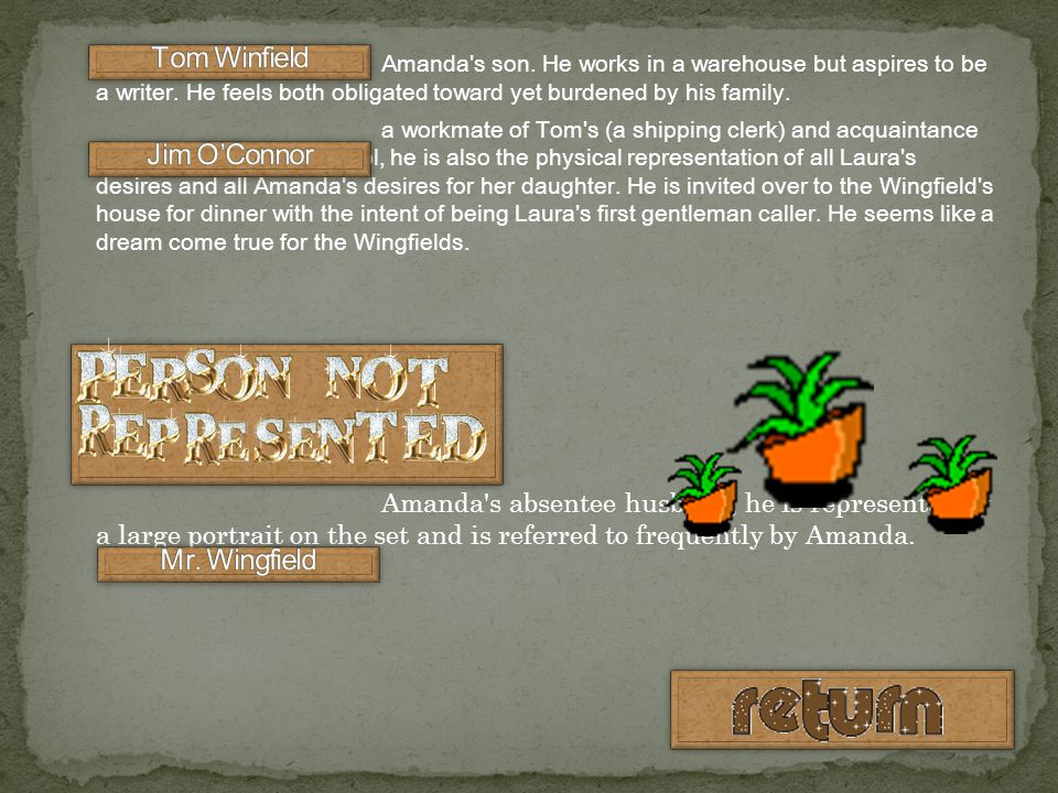 Tom Winfield Jim O'Connor Mr. Wingfield