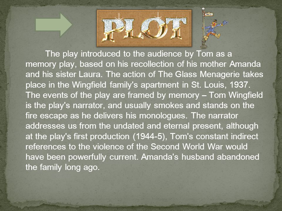 The play introduced to the audience by Tom as a memory play, based on his recollection of his mother Amanda and his sister Laura.