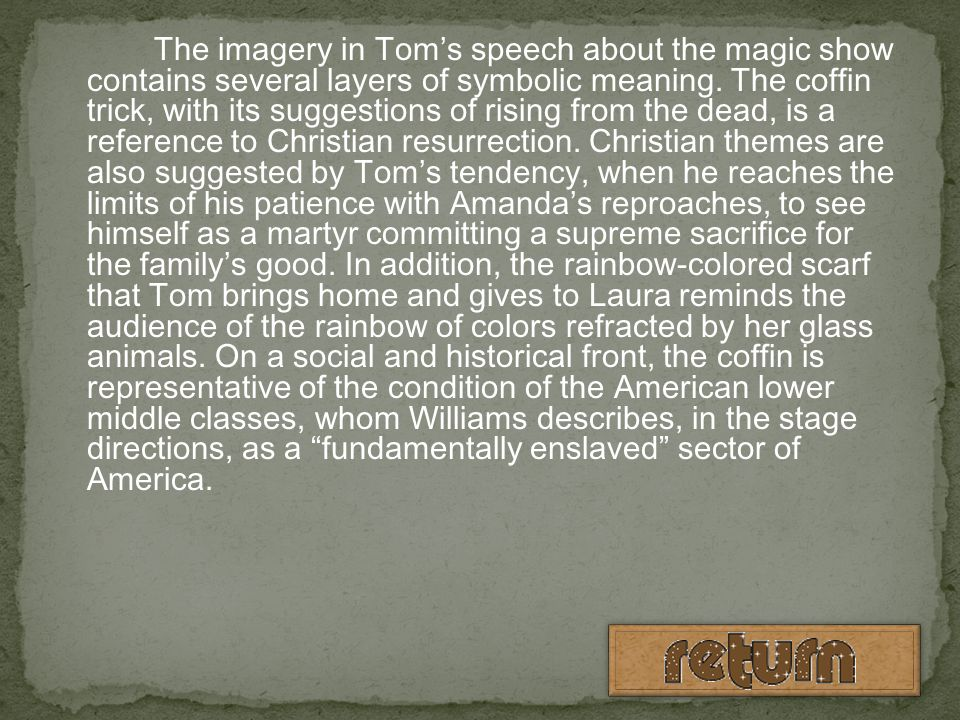 The imagery in Tom's speech about the magic show contains several layers of symbolic meaning.