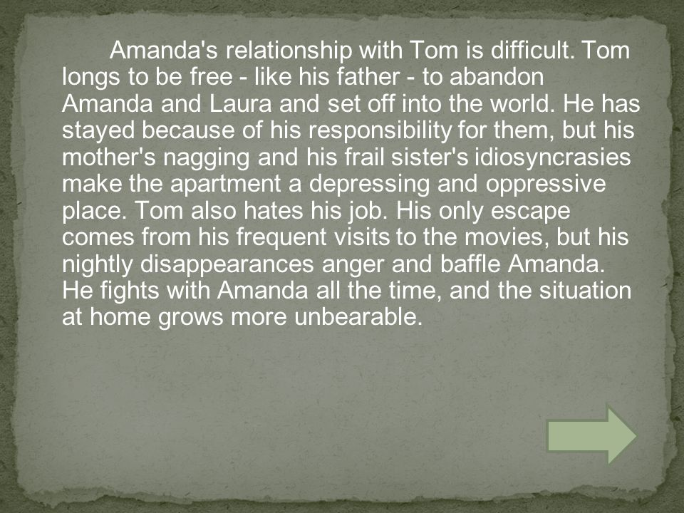 Amanda s relationship with Tom is difficult