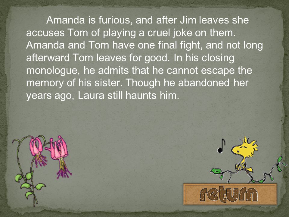 Amanda is furious, and after Jim leaves she accuses Tom of playing a cruel joke on them.
