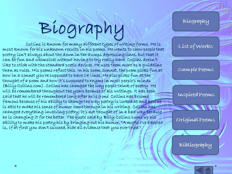 Biography Biography List of Works Sample Poems Inspired Poems