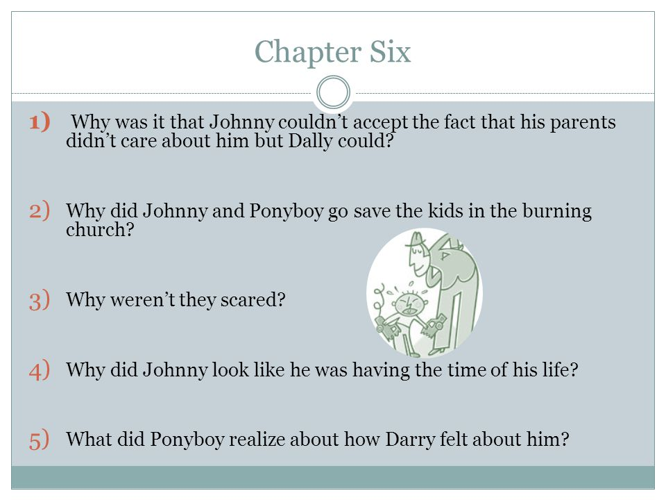 Chapter Six Why was it that Johnny couldn't accept the fact that his parents didn't care about him but Dally could