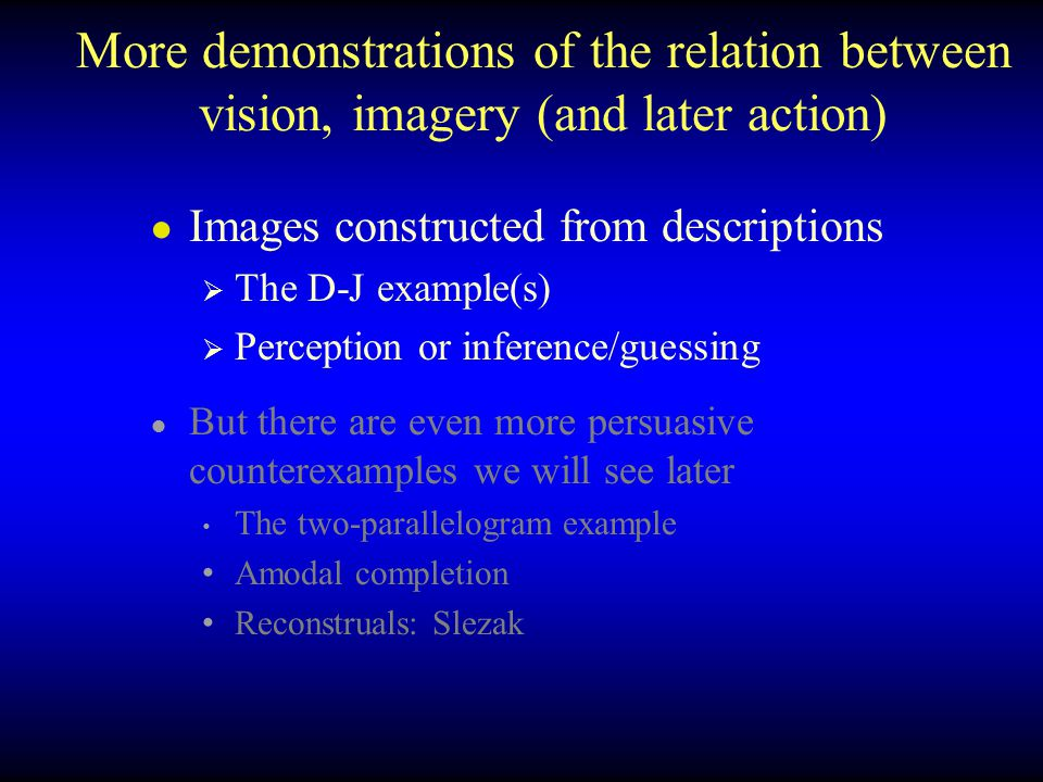 More demonstrations of the relation between vision, imagery (and later action)