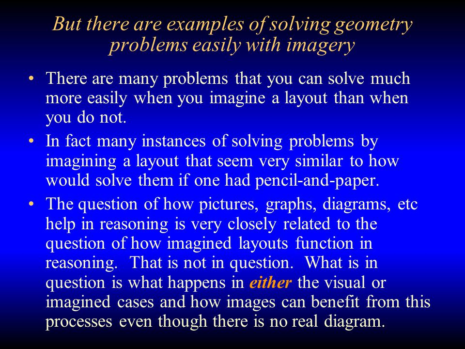 But there are examples of solving geometry problems easily with imagery