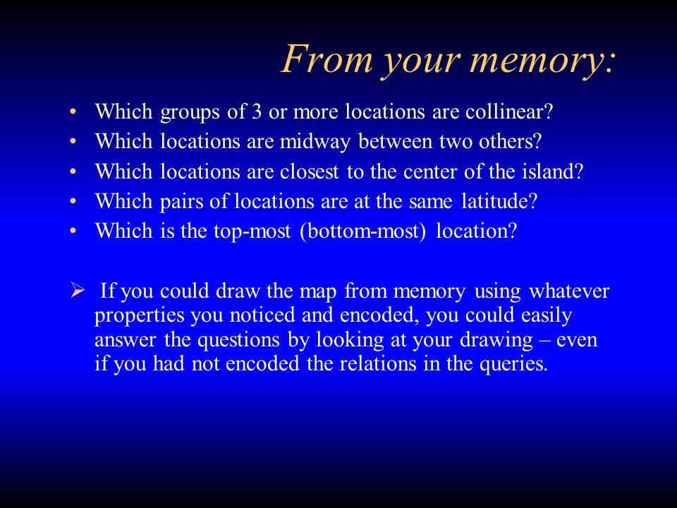 From your memory: Which groups of 3 or more locations are collinear