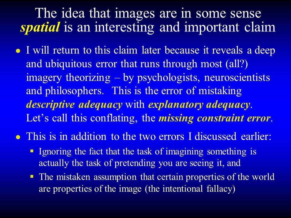 The idea that images are in some sense spatial is an interesting and important claim