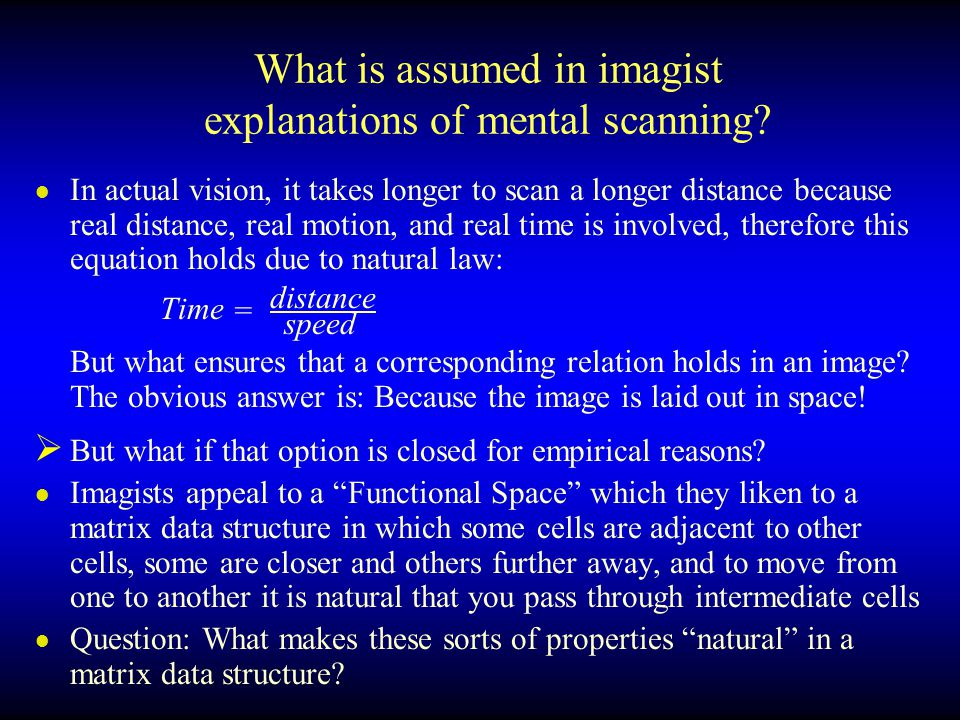 What is assumed in imagist explanations of mental scanning