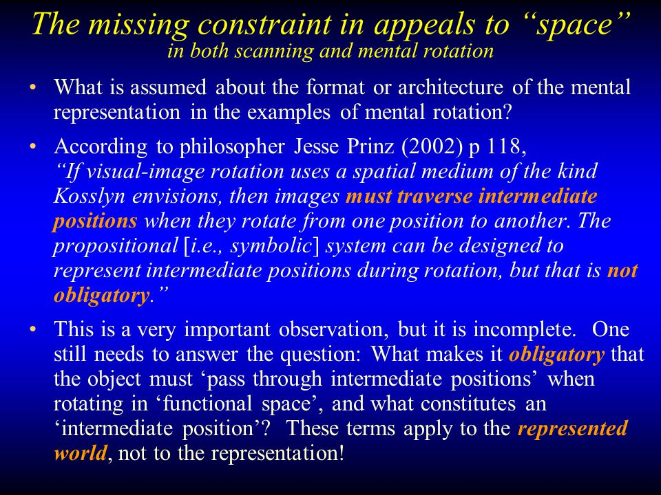 The missing constraint in appeals to space in both scanning and mental rotation