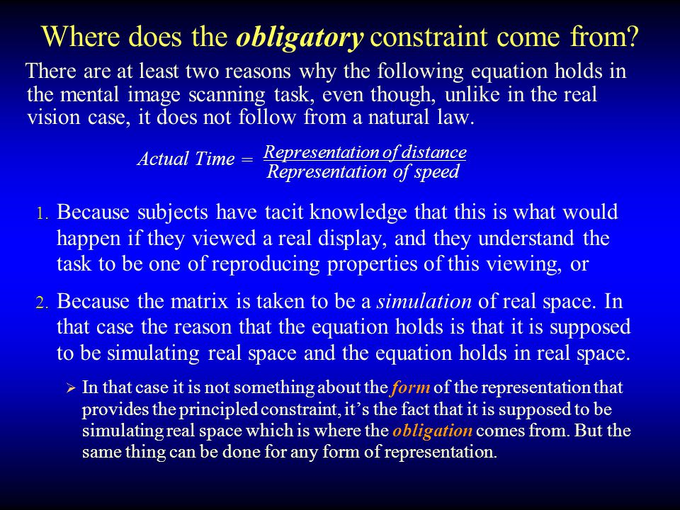 Where does the obligatory constraint come from