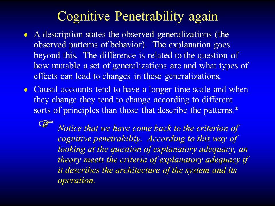 Cognitive Penetrability again