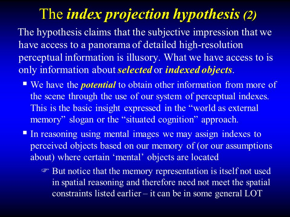 The index projection hypothesis (2)