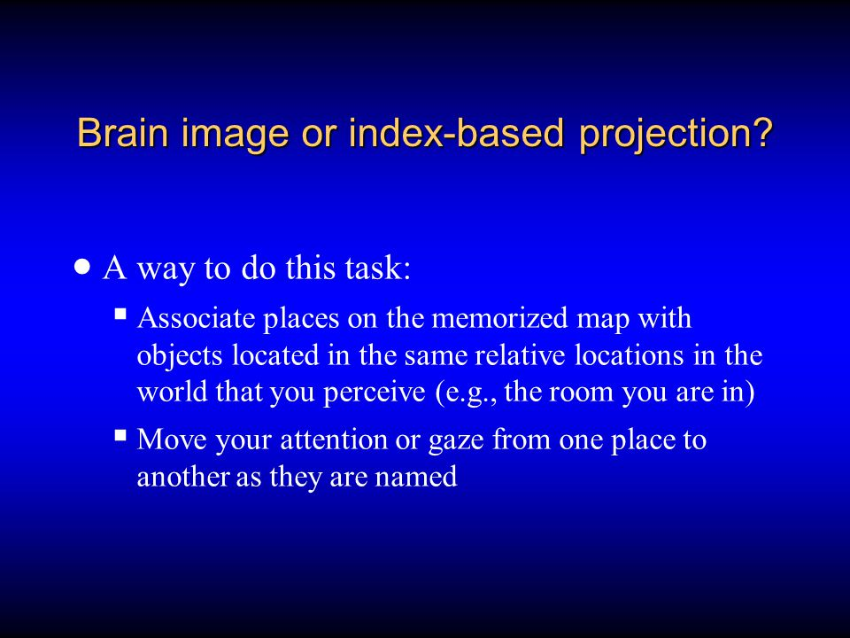Brain image or index-based projection