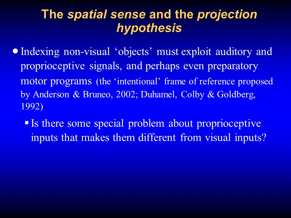 The spatial sense and the projection hypothesis