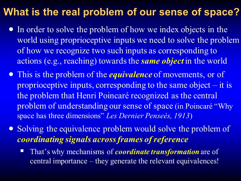 What is the real problem of our sense of space