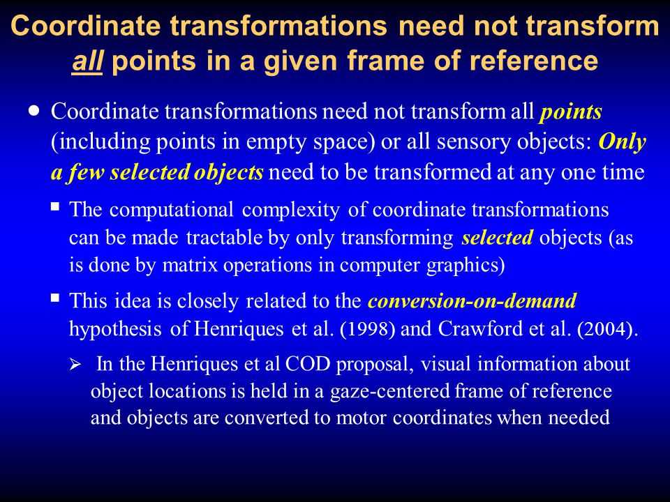 Coordinate transformations need not transform all points in a given frame of reference